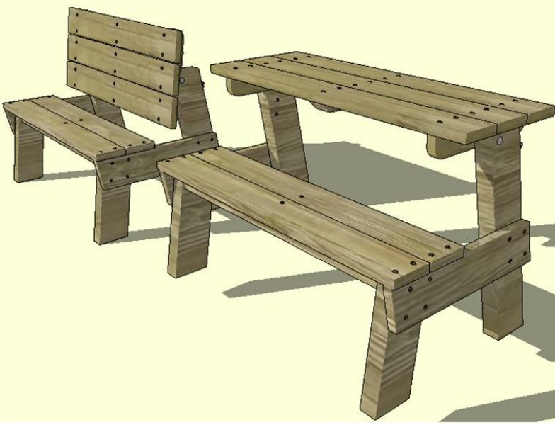 Bonie Woodworking Here Plans For Bench That Turns Into Picnic Table